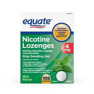 Equate Nicotine Lozenges, Mint Flavor, 4 mg, 108 Count..