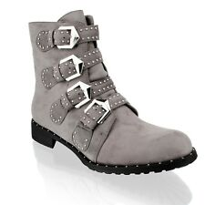 New Womens Ladies Studded Biker Strappy Ankle Military Army Boots Shoes Size