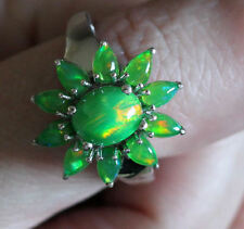 UK S LARGE 3ct FIERY! GREEN FIRE OPAL solid 925 RING Platinum on Sterling Silver