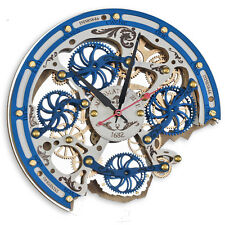 Automaton Bite 1682 Gzhel HANDCRAFTED moving gears steampunk wall clock blue