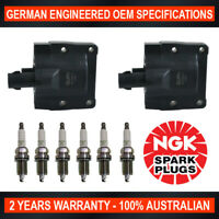 6x Genuine NGK Spark Plugs & 2x Ignition Coils for Toyota Landcruiser FZJ70/75