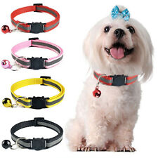 1pc Reflective Cats Collar with Bell Nylon Head Safety Buckle Pet Collar Black