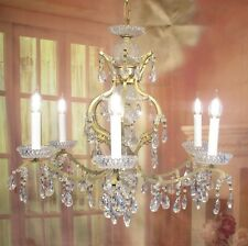 Antique Vintage  Chandelier 6 Light French Style Gold Crystal Unique