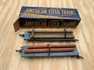 Vintage American Flyer 2- C&N W RY 42597 #628 Log Cars with 1 Box