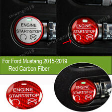 Red Carbon Fiber Car Engine Start Switch Button Cover For Ford Mustang 2015-2019