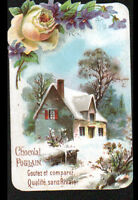 IMAGE CHROMO CHOCOLAT POULAIN / FLEURS ROSE & VIOLETTE / VILLA en hiver