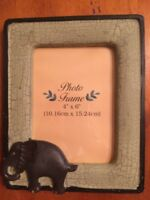 Safari Elephant Photo Frame Wooden with Resin and metal Elephant-New-SHIPS FREE
