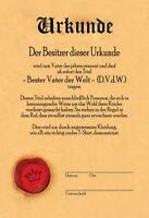 Urkunde Bester Vater der Welt Blechschild Schild gewölbt Tin Sign 20 x 30 cm