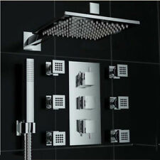 "Thermostatic Square 10"" Rain Shower Faucet Massage Jets With Hand Shower Mixer"