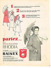 PUBLICITE ADVERTISING  1957   RHODIA RAINEX   parapluie