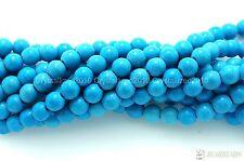 """Piedras Preciosas Howlite turquesa redonda con cuentas de azul 2 mm 3 mm 4 mm 6 mm 8 mm 10 mm 12 mm 16"""""""