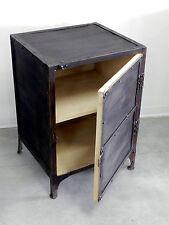 Comodino stipo metallo stile industriale mobiletto vintage