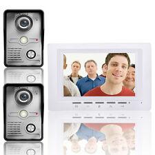 """7"""" LCD Video Door Phone Doorbell Intercom Kit 2 -camera 1-monitor Night Vision"""