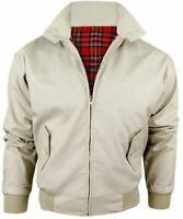 Men's Nova Harrington Classic Jacket Bomber Zip Top Retro Coat Beige