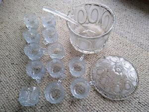 Bowle Set Service 15teilig Kristallglas