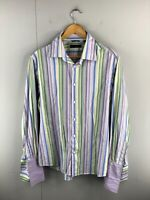Blaq Men's Long Sleeve Button Up Shirt Size L Purple Green Blue Stripe