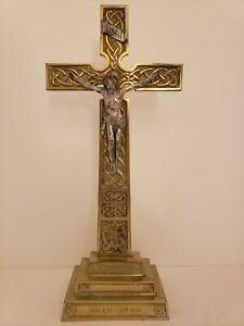 "Antique 1942 Brass Celtic Catholic Church Altar Memorial Crucifix Cross 16"" Tall"