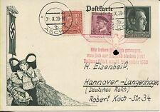 Sudetenland Asch Propaganda-Karte deutsch-tschechische Mischfrankatur (B06453)
