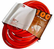 100 Ft 10 Gauge Triple-Tap Extension Cord Lit End 3 Wire 10/3 Feet