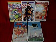 Lot of 5 Family Films Vhs Inc. Mouse Hunt, Rug Rats, Antz, Etc.