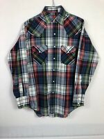 Plains Western Wear Mens Pearl Snap Long Sleeve Button Plaid Shirt Size S A28