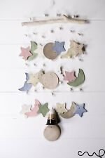 Handmade Star Moon Shapes Ceramic Windchime Brown 3tier Bell Grey Gift Hanging