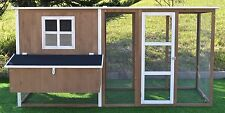 Large 7.2' Deluxe Solid wood Hen Chicken Cage House Coop Huge w/ Run nesting box