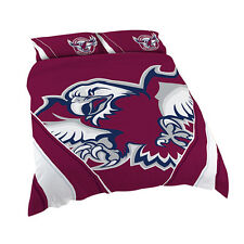 Manly Warringah Sea Eagles NRL QUEEN Bed Quilt Doona Duvet Cover Set NEW 2018
