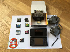 Black Nintendo DS Lite Console Handheld With  8 Games & 2x Original Chargers.