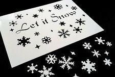 #M SNOWFLAKES with Text  LET IT SNOW Stencil Winter Xmas Windows Decoration