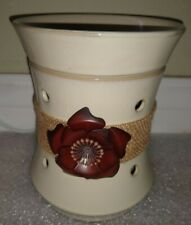 Scentsy Roselyn Wax Full Size Warmer Tan Burlap Rose Retired NIB