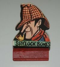 Vintage Alfred Hitchcock 1957 WHY Shylock Bones Game Piece w/ Wooden Base Rare