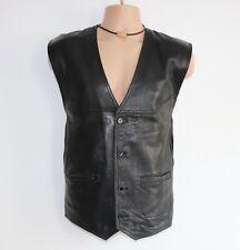 """Men's Vintage M. FLUES Black 100% Leather Waistcoat Vest Size 62 Pit To Pit 27"""""""