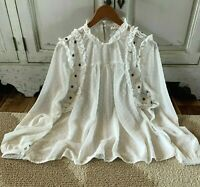 L Boho Lace Floral Embroidered Peasant Blouse Vtg 70s Insp Top Women's LARGE NWT