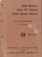 2000 Berlina 2000 GT Veloce; 2000 Spider Veloce Fuel Injection TECH & INSPECTION