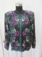 086cedb7b560f PATRA 100% Silk Black w/ Multi Color Flower Sequin & Beaded Evening Jacket  Sz