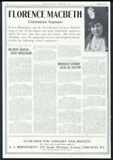 1915 Florence Macbeth photo opera singing recital tour vintage trade print ad