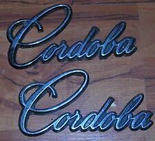 USED Mopar 75 Cordoba 76 Chrysler Fender Emblem Pair FREE SHIP 77 78 79
