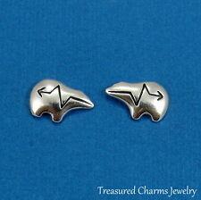 925 Sterling Silver Heartline Bear Earrings - Southwestern Zuni Bear Studs NEW