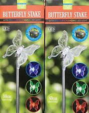 NEW 2x GARDEN SOLAR POWERED BUTTERFLY STAKE WITH COLOUR CHANGING LED LIGHT