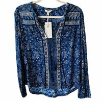 Lucky Brand Womens Small Blue Floral Long Sleeve Top