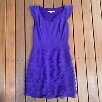 Review Purple Fit & Flare Ruffle Dress Sleeveless Scoop Neckline Party Size 8