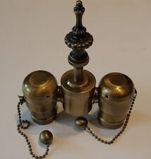 Lamp Top Part Antique Brass Finish Finial With Sockets Holder 2 lite Table