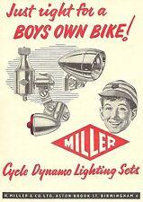 Miller Cycle Dynamo Lighting Set Advert - Original 1961