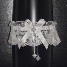 Bride Gift Wedding Garter WHITE Nottingham Lace Handmade Classic Look
