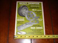 1967 MICKEY THOMPSON TIRES - WHEELS - HEADERS - VALVE COVERS - ORIGINAL AD