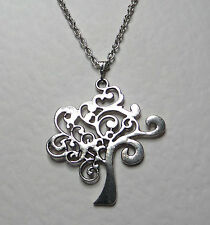 BEAUTIFUL TREE OF LIFE PENDANT DARK SILVER PLATED ON 18 INCH TRACE CHAIN