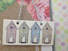 Hand Made Hanging 4 Beach Hut Plaque In Pastel Shades Great Gift