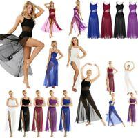 Women Ballet Latin Dance Dress Long Skirt Leotard Clubwear Training Dancewear