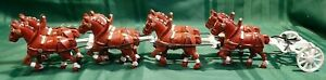Metal Cast Iron ? Painted 8 Horse Carriage Cart Hauling Team 23 inch long